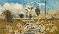 landscape with a stream by karl heffner
