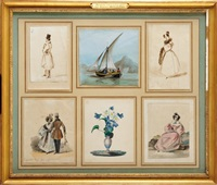 bel ensemble de six dessins : a) elégant en haut de forme by hortense beauharnais