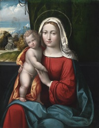 madonna and child before a curtain, a mountainous landscape beyond by benvenuto tisi da garofalo