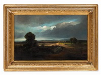 fields in stormy atmosphere, 19th c. by georges michel