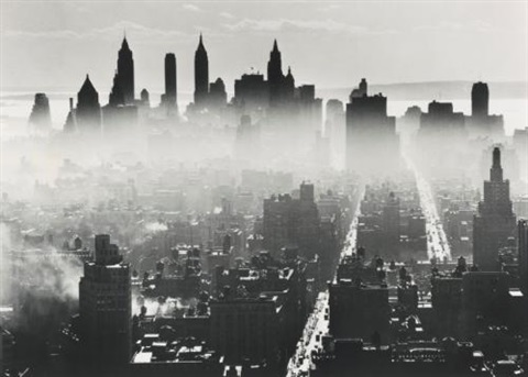view from midtown manhattan to lower manhattan new york by andreas feininger