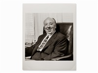alfred hitchcock in his office, usa by sid avery