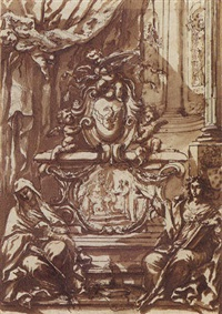 a monument to pope gregory xiii, crowned by putti and flanked by allegories of faith and charity by antonio filippini