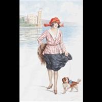 fanciulla con cane con il castello di miramare sullo sfondo by romolo tessari