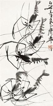 墨虾 立轴 水墨纸本 by qi liangsi