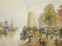 a dutch flower market by hans herrmann