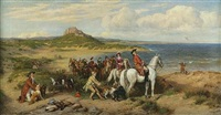 conway castle and an elegant hunting party by henry hetherington emmerson