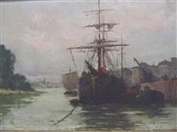 bateau à quai, nantes by firmin-barriere