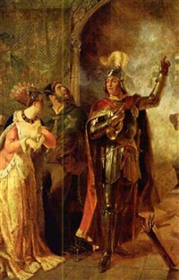 a scene from shakespeare's henry vi, act 2, scene ii depicting the countess of auvergne, her porter and john talbot by edward henry corbould