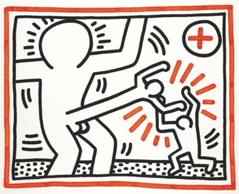 three lithographs: untitled by keith haring