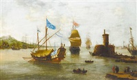 shipping approaching a harbor in a calm, villages on the horizon by jan peeters the elder