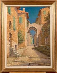coin animé d'un village en provence by marcel lizen