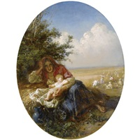 mother and child in the wheat field by nikolai y. rachkov