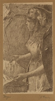 l'attente de la chanteuse (from quinze lithographies) by edgar degas