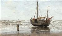 bateau de pêcheurs sur la plage by gerhard arij ludwig morgenstjerne munthe
