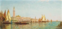 a gondolier before the molo, venice by charles cousin