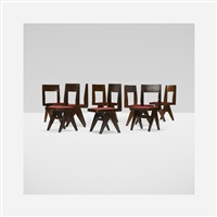 set of eight library chairs from chandigarh by pierre jeanneret