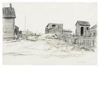 shacks on skyline by edward hopper