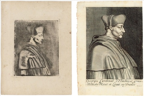 cardinal d'amboise (+ engraving of same; 2 works) by joseph-nicephore niepce