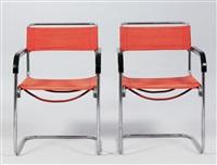 b30 armchairs (pair) by marcel breuer