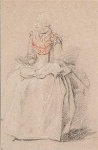 femme assise tenant une écuelle by etienne jeaurat