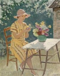 femme et fleurs (maria la fond) blacée rhône by adolphe valette