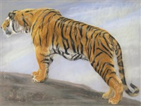 a tiger standing on a rock by john trivett nettleship