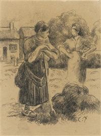 paysanne à la fourche by camille pissarro