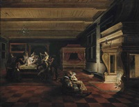 an interior with elegantly dressed figures playing cards and making music, others reading by a fireplace by dirck van delen