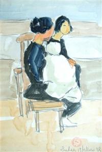 femme et fillette asiatiques by maurice le scouezec