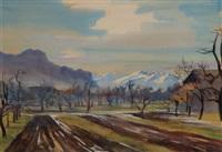 blick vom rheintal, vorarlberg, auf die schweizer berge (+ study, verso) by erich miller von hauenfels