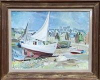 boats on the shore in brittany by trafford partridge klots