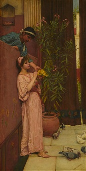 the courtship (sweet offerings) by john william waterhouse