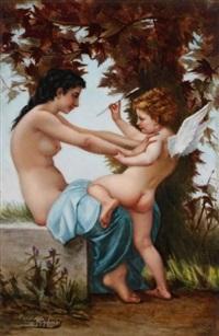 jeune fille se défendant contre l'amour (after bouguereau) by blanche henry