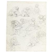 sheet of studies of nude young women by augustin de saint-aubin