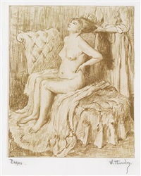 la toilette de danseuse (from quinze lithographies) by edgar degas