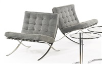 pair of barcelona chairs by ludwig mies van der rohe