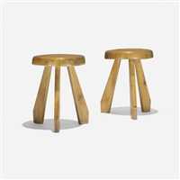 pair of stools from les arcs, savoie (pair) by charlotte perriand
