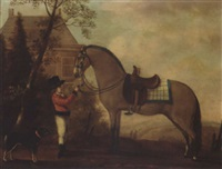 a horse and groom before a country house by a. van den peereboom