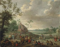 a landscape with figures conversing and playing music, a church beyond by joost cornelisz droochsloot