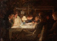 a family around a table by julius paulsen