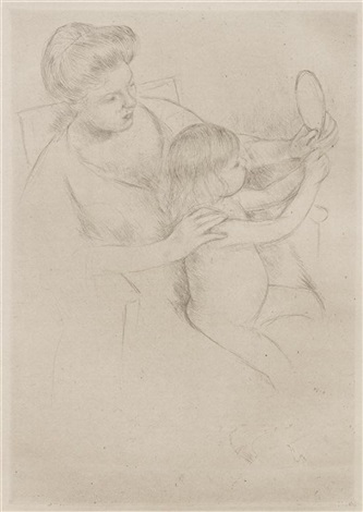 looking into the hand mirror by mary cassatt