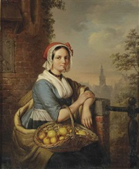 a woman carrying a basket of fruit by elisabeth alida van haanen
