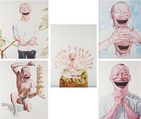 smile ism series five prints 5 works by yue minjun
