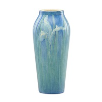 tall transitional vase with irises by cynthia pugh littlejohn