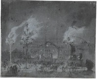fireworks before a grand house; view of greenwich (recto/verso) by egbert lievensz van der poel