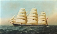 the clipper ship laomene under full sail by antonio jacobsen