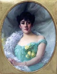 portrait de jeune femme à la robe verte by paul françois quinsac