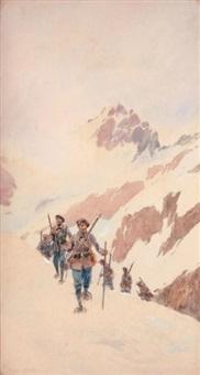 militaires en raquette dans la neige by pierre comba