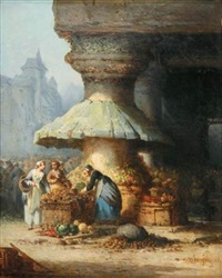 marchande de légumes devant l'église by léonard saurfelt